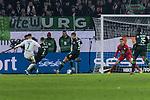 01.12.2019, Volkswagen Arena, Wolfsburg, GER, 1.FBL, VfL Wolfsburg vs SV Werder Bremen<br /> <br /> DFL REGULATIONS PROHIBIT ANY USE OF PHOTOGRAPHS AS IMAGE SEQUENCES AND/OR QUASI-VIDEO.<br /> <br /> im Bild / picture shows<br /> Tor 2:3, <br /> Milot Rashica (Werder Bremen #07) mit Torschuss und Treffer zum 2:3, <br /> <br /> Foto © nordphoto / Ewert