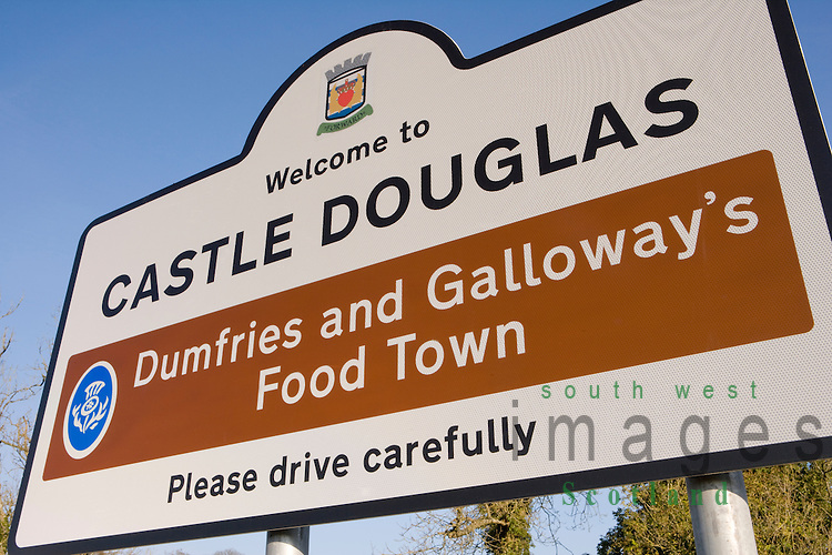 Signage Road sign at the entrance to Castle Douglas Dumfries and Galloways Food Town Scotland UK