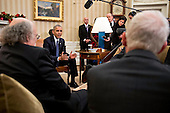 U.S. President Barack Obama, center, speaks as he meets with the 2016 American Nobel Prize laureates including F. Duncan Haldane, professor at Princeton University and laureate of the 2016 Nobel Prize in physics, left, and Oliver Hart, professor at Harvard University and winner of the 2016 Sveriges Riksbank Prize in economic sciences in memory of Alfred Nobel, right, in the Oval Office of the White House in Washington, D.C., U.S., on Wednesday, Nov. 30, 2016. Annual prizes for achievements in physics, chemistry, medicine, peace and literature were established in the will of Alfred Nobel, the Swedish inventor of dynamite, who died in 1896. <br /> Credit: Andrew Harrer / Pool via CNP