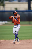 Houston Astros second baseman Enmanuel Valdez (66) throws to first during a Minor League Spring Training Intrasquad game on March 28, 2019 at the FITTEAM Ballpark of the Palm Beaches in West Palm Beach, Florida.  (Mike Janes/Four Seam Images)