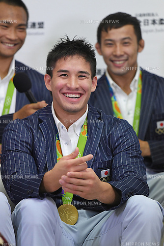 Matthew Baker (JPN), <br /> AUGUST 15, 2016 - Judo : <br /> Japaese Judo medalist attend a media conference at Narita Airport in Chiba, Japan. Japanese Judo players won 3 gold medals, 1 silver medal and 8 bronze medals in the Rio 2016 Olympic Games. (Photo by AFLO SPORT)