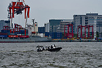 JUNE 28, 2019 - A police boat patrols Osaka Harbor near the G20 Summit in Osaka, Japan. (Photo by Ben Weller/AFLO) (JAPAN) [UHU]