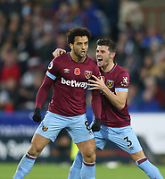 West Ham United's Felipe Anderson celebrates scoring his side's first goal with Aaron Cresswell<br /> <br /> Photographer Rob Newell/CameraSport<br /> <br /> The Premier League - Huddersfield Town v West Ham United - Saturday 10th November 2018 - John Smith's Stadium - Huddersfield<br /> <br /> World Copyright © 2018 CameraSport. All rights reserved. 43 Linden Ave. Countesthorpe. Leicester. England. LE8 5PG - Tel: +44 (0) 116 277 4147 - admin@camerasport.com - www.camerasport.com