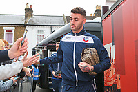Bolton Wanderers' Gary Madine gets off the coach outside Griffin Park<br /> <br /> Photographer Alex Dodd/CameraSport<br /> <br /> The EFL Sky Bet Championship - Brentford v Bolton Wanderers - Saturday 13th January 2018 - Griffin Park - Brentford<br /> <br /> World Copyright &copy; 2018 CameraSport. All rights reserved. 43 Linden Ave. Countesthorpe. Leicester. England. LE8 5PG - Tel: +44 (0) 116 277 4147 - admin@camerasport.com - www.camerasport.com