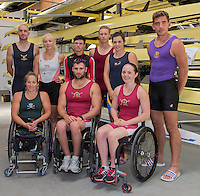 Back Row Left to Right. Daniel BROWN, Pamela RELPH, Oliver<br /> JAMES, Laurence  WHITELEY, Grace CLOUGH,  James C. FOX,  Front Row. Left to Right. Rachel MORRIS, Tom AGGAR and Lauren  ROWLES,  dressed in their First Club colours/Kit. GBRowing team, Media day for Paralympic  Team  to compete at the  2016 Rio Games.   Tuesday  19/07/2016,         [Mandatory Credit Peter Spurrier/Intersport Images]