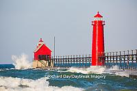 64795-01205 Grand Haven South Pier Lighthouse at sunrise on Lake Michigan, Ottawa County, Grand Haven, MI