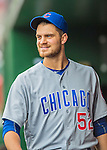 15 June 2016: Chicago Cubs pitcher Justin Grimm smiles in the dugout during a game against the Washington Nationals at Nationals Park in Washington, DC. The Cubs fell to the Nationals 5-4 in 12 innings, giving up the rubber match of their 3-game series. Mandatory Credit: Ed Wolfstein Photo *** RAW (NEF) Image File Available ***