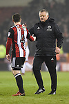 Chris Wilder manager of Sheffield Utd congratulates John Fleck of Sheffield Utd during the championship match at the Bramall Lane Stadium, Sheffield. Picture date 10th April 2018. Picture credit should read: Harry Marshall/Sportimage