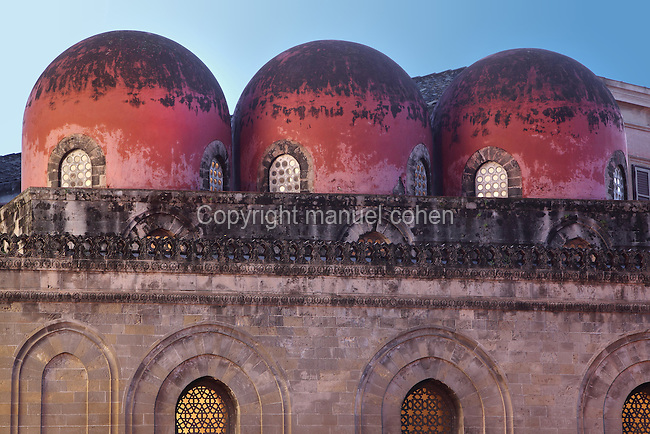 "Three Saracen-style, bulbous, red ""golfball"" domes, Chiesa di San Cataldo (Church of San Cataldo, La Cataldo), 1154, Palermo, Sicily, Italy. The Romanesque church with Arab influences was founded by Maio of Bari, chancellor to William I, during the Norman occupation of Sicily. Picture by Manuel Cohen"