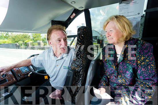 Tralee Chamber Alliance and Local Link Kerry are now brining people to the beach in a bid to tackle isolation the first bus left on Wednesday in photo are bus driver Noel Kelter and Rose Riordan passenger from Curranes.