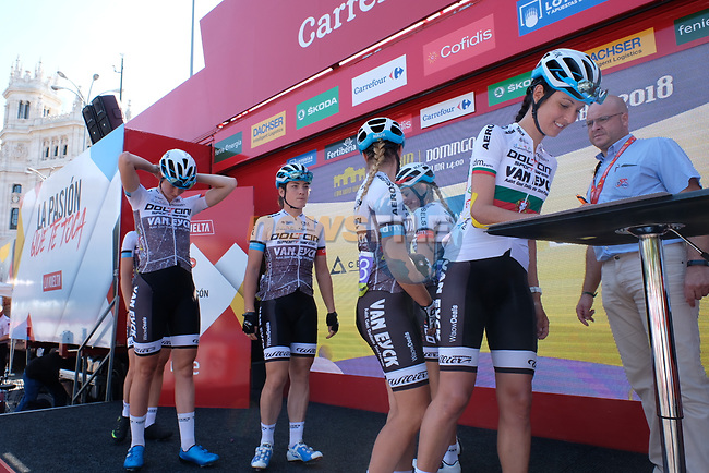 Doltcini-Van Eyck Sport team at sign on before the start of Stage 2 of the Madrid Challenge by La Vuelta, a team time trial running 98.6km around the streets of Madrid, Spain. 16th September 2018.                   <br /> Picture: Unipublic/Vicent Bosch | Cyclefile<br /> <br /> <br /> All photos usage must carry mandatory copyright credit (&copy; Cyclefile | Unipublic/Vicent Bosch)