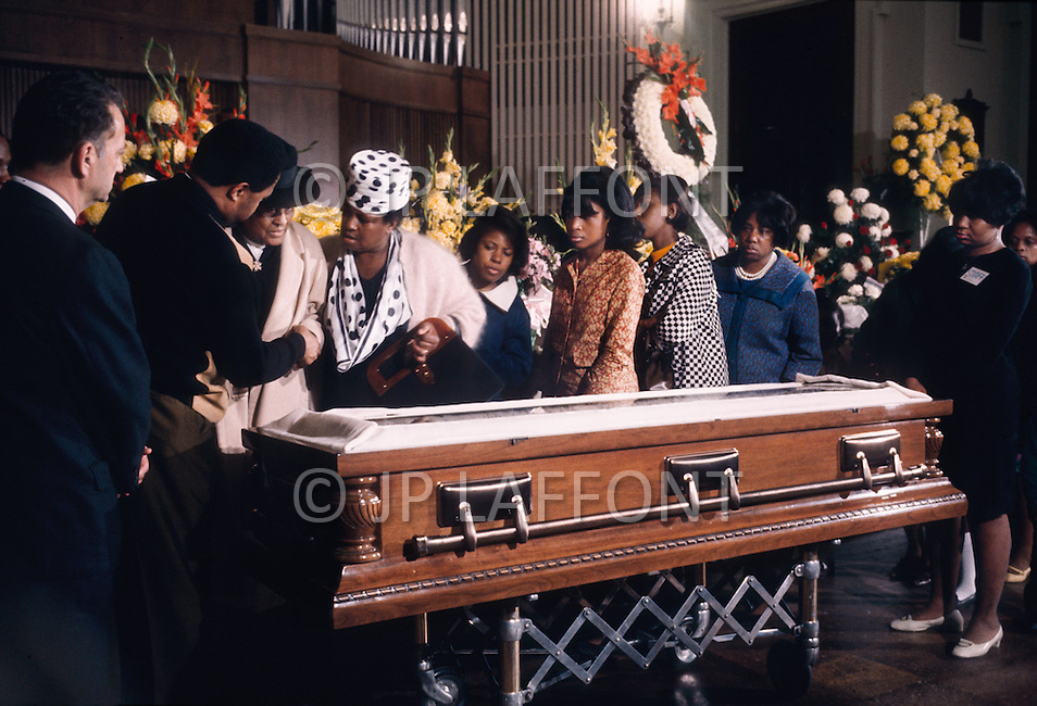 08 Apr 1968, Memphis, Tennessee, USA --- The body of the American clergyman, activist, and leader in the African-American Civil Rights Movement, Martin Luther King, lay in state at the R. S. Lewis & Sons Funeral Home. King was assassinated on April 4, 1968, in Memphis, Tennessee.
