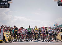 Green Peter Sagan (SVK/Bora-Hansgrohe), yellow Greg Van Avermaet (BEL/BMC), polka dotted Tom Skujins (LAT/Trek Segafredo) & white Søren Kragh Andersen (DEN/Sunweb)at the start line; ready to roll<br /> <br /> Stage 10: Annecy > Le Grand-Bornand (159km)<br /> <br /> 105th Tour de France 2018<br /> ©kramon