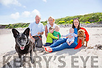 Poppy the Dublin dog who preferred Ballinskelligs to the big smoke pictured here with l-r; Gerald & Patricia Fitzgerald, Sé McElhatton, Míchéal McElhatton, Jack Rafferty, Norma Fitzgerald-Rafferty & Bonny.