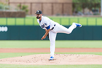 Glendale Desert Dogs starting pitcher Ben Holmes (29), of the Los Angeles Dodgers organization, follows through on his delivery during an Arizona Fall League game against the Scottsdale Scorpions at Camelback Ranch on October 16, 2018 in Glendale, Arizona. Scottsdale defeated Glendale 6-1. (Zachary Lucy/Four Seam Images)