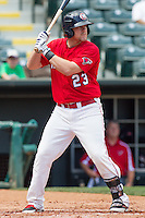 Oklahoma City RedHawks third baseman Jonathan Meyer (23) at bat during the Pacific League game at the Chickasaw Bricktown Ballpark against the New Orleans Zephyrs on April 13, 2014 in Oklahoma City, Oklahoma.  The RedHawks defeated the Zephyrs 4-3.  (William Purnell/Four Seam Images)