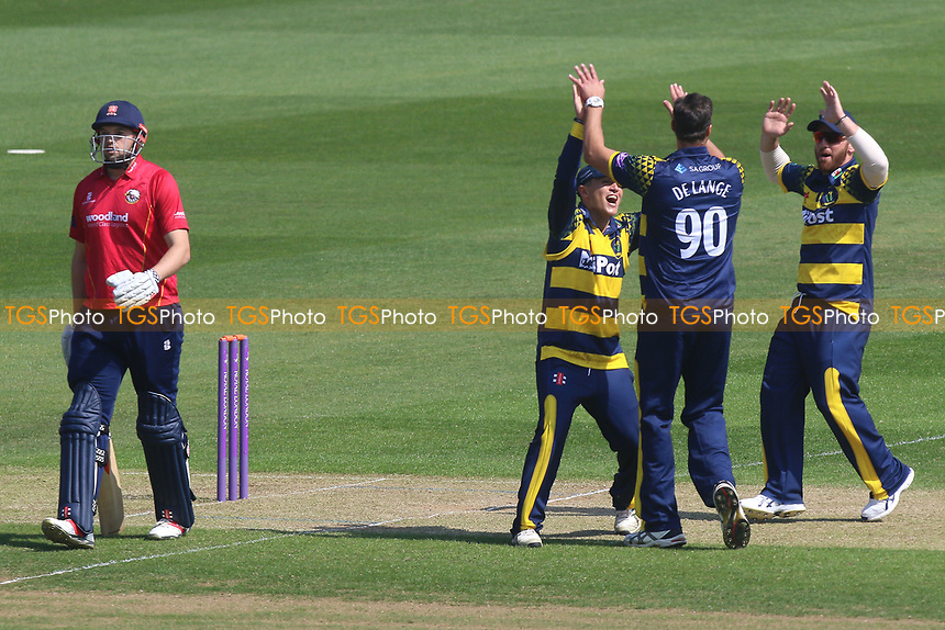 Marchant De Lange of Glamorgan is congratulated by his team mates after taking the wicket of Nick Browne during Glamorgan vs Essex Eagles, Royal London One-Day Cup Cricket at the SSE SWALEC Stadium on 7th May 2017