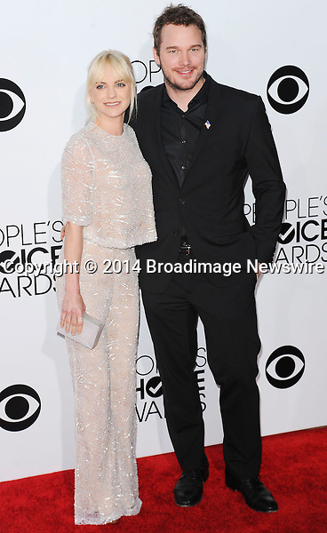 Pictured: Chris Pratt, Anna Faris<br /> Mandatory Credit &copy; Adhemar Sburlati/Broadimage<br /> People's Choice Awards 2014 - Arrivals<br /> <br /> 1/8/14, Los Angeles, California, United States of America<br /> <br /> Broadimage Newswire<br /> Los Angeles 1+  (310) 301-1027<br /> New York      1+  (646) 827-9134<br /> sales@broadimage.com<br /> http://www.broadimage.com