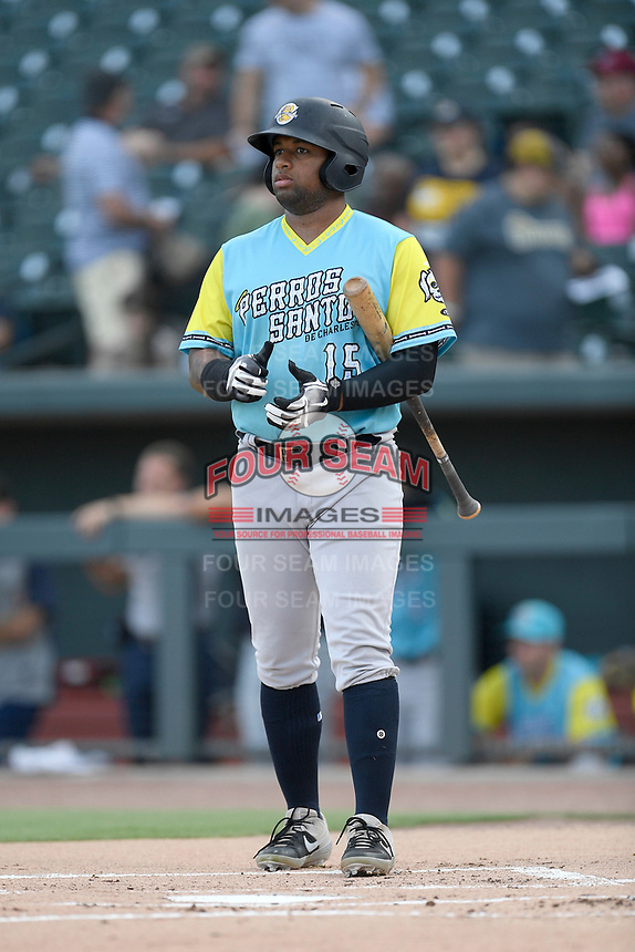 Left fielder Canaan Smith (15) of the Charleston RiverDogs, playing as the Perros Santos de Charleston, bats in a game against the Columbia Fireflies on Friday, July 12, 2019 at Segra Park in Columbia, South Carolina. The RiverDogs won, 4-3, in 10 innings. (Tom Priddy/Four Seam Images)