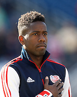 New England Revolution midfielder Clyde Simms (19)..  In a Major League Soccer (MLS) match, FC Dallas (red) defeated the New England Revolution (blue), 1-0, at Gillette Stadium on March 30, 2013.