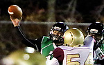 WATERBURY CT. 22 November 2017-112217SV14-#11 Alexander Gonzalez of Wilby High tosses a pass down field against Sacred Heart/Kaynor at Municipal Stadium in Waterbury Wednesday.<br /> Steven Valenti Republican-American