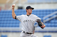 Tampa Yankees pitcher Shane Greene #57 during a game against the Dunedin Blue Jays at Dunedin Stadium on April 28, 2012 in Dunedin, Florida.  Dunedin defeated the Yankees 6-1.  (Mike Janes/Four Seam Images)