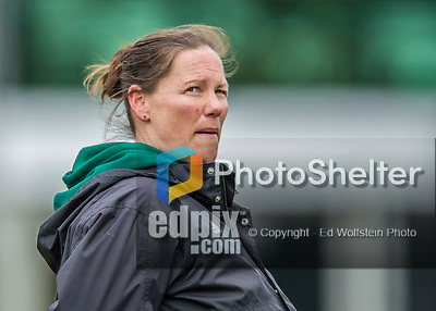 25 April 2015: University of Vermont Catamount Head Coach Jen Johnson glances at the scoreboard during game action against the University of New Hampshire Wildcats at Virtue Field in Burlington, Vermont. The Lady Catamounts defeated the Lady Wildcats 12-10 in the final game of the season, advancing to the America East playoffs. Mandatory Credit: Ed Wolfstein Photo *** RAW (NEF) Image File Available ***