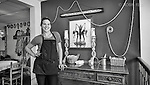 Faces: Black and white of server at Miss Molly's, Farmersville, Oh. Small business