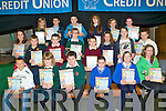 CREDIT UNION: The students who received their prizes in the 11-13 year old category of the Clanmaurice Credit Union Poster competition at Causeway Comprehensive School on Thursday pictured Lauren Fitzmaurice, Jack Healy, T. J. Maunsell, James Pike, Maurice O'Connor, Liam Mullins, Clodagh Walsh, Vicky Barron, Sophia Long, Rachel O'Hara, Aideen Casey, Shannon Dockree, Morann Gilbert, Kyle M. Layden, Kevin Guerin, Megan Cotter, Edel Slattery, Liam Costello, Graham O'Connor and Lydia Mary Keane.