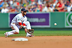 10 June 2012: Boston Red Sox second baseman Dustin Pedroia in action against the Washington Nationals at Fenway Park in Boston, MA. The Nationals defeated the Red Sox 4-3 to sweep their 3-game interleague series. Mandatory Credit: Ed Wolfstein Photo