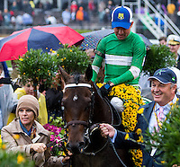 BALTIMORE, MD - MAY 21: Exaggerator #5, ridden by Kent J. Desormeaux, is led by owner Matt Bryan to the winner's circle after winning the 141st running of the Preakness Stakes at Pimlico Race Course on May 21, 2016 in Baltimore, Maryland. (Photo by Sue Kawczynski/Eclipse Sportswire/Getty Images)