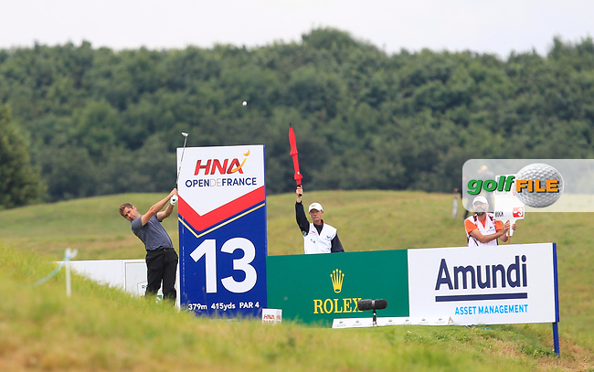 Robert Rock (ENG) on the 13th tee during Round 3 of the HNA Open De France  at The Golf National on Saturday 1st July 2017.<br /> Photo: Golffile / Thos Caffrey.<br /> <br /> All photo usage must carry mandatory copyright credit      (&copy; Golffile | Thos Caffrey)