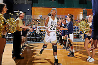 21 January 2012:  FIU guard Jerica Coley (22) is introduced prior to the start of the game.  The Florida Atlantic University Owls defeated the FIU Golden Panthers, 50-49, at the U.S. Century Bank Arena in Miami, Florida.
