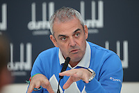 Ryder Cup Captain Paul McGinley recalled the upbringing with his Dad in the Gaelic football scene and how community and fellowship mattered, during the Media Interview before the 2014 Alfred Dunhill Links Championship, The Old Course, St Andrews, Fife, Scotland. Picture:  David Lloyd / www.golffile.ie