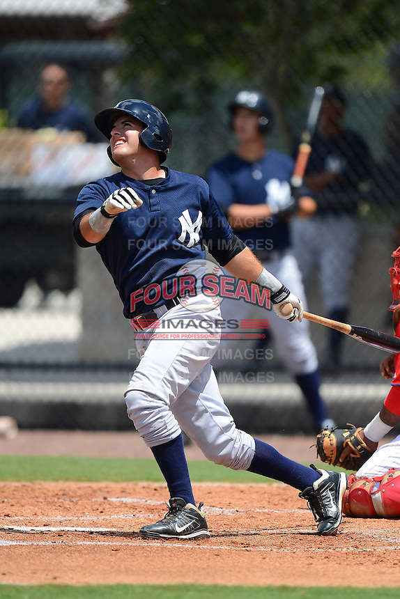GCL Yankees 2 first baseman Renzo Martini (71) during a game against the GCL Phillies on July 22, 2013 at Carpenter Complex in Clearwater, Florida.  GCL Yankees defeated the GCL Phillies 2-1.  (Mike Janes/Four Seam Images)