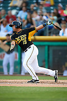 Carlos Perez (19) of the Salt Lake Bees bats against the Albuquerque Isotopes in Pacific Coast League action at Smith's Ballpark on June 10, 2017 in Salt Lake City, Utah. The Isotopes defeated the Bees 4-2. (Stephen Smith/Four Seam Images)