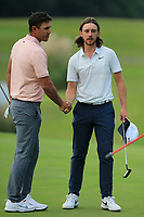 Brooks Koepka (USA) and Tommy Fleetwood (ENG) on the 9th during the 1st round at the WGC HSBC Champions 2018, Sheshan Golf Club, Shanghai, China. 25/10/2018.<br /> Picture Fran Caffrey / Golffile.ie<br /> <br /> All photo usage must carry mandatory copyright credit (&copy; Golffile | Fran Caffrey)