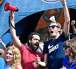 Sebastien Ballesta (left) and Romain Garner celebrate after the French team scored while they were at the Amsterdam Tavern in St. Louis watching the broadcast of the World Cup soccer championship game between Croatia and France on Sunday July 15, 2018.  Garner is a French national. At far right is Julia Curran, Garnier's wife, and at far left is Zina Badric, who was there in support of the Croatian team.        Photo by Tim Vizer