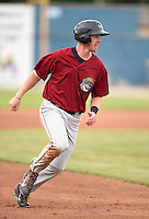 Mahoning Valley Scrappers third baseman Austin Fisher (7) running the bases during a game against the Batavia Muckdogs on June 22, 2015 at Dwyer Stadium in Batavia, New York.  Mahoning Valley defeated Batavia 15-11.  (Mike Janes/Four Seam Images)