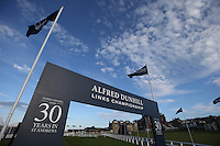 Gateway to the media compound during the practice days before the 2014 Alfred Dunhill Links Championship, The Old Course, St Andrews, Fife, Scotland. Picture:  David Lloyd / www.golffile.ie