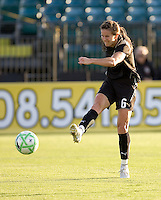 Brandi Chastain attempts a shot in the first half. LA Sol and FC Gold Pride tied 0-0 at Buck Shaw Stadium in Santa Clara, California on July 23, 2009.