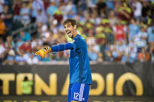 June 9, 2016: Venezuela Keeper Dani Hernandez (12) calls out to his teammates in the second half during the Group A game between Uruguay and Venezuela at Lincoln Financial Field in Philadelphia, PA (Photo by Kyle Ross/Icon Sportswire)