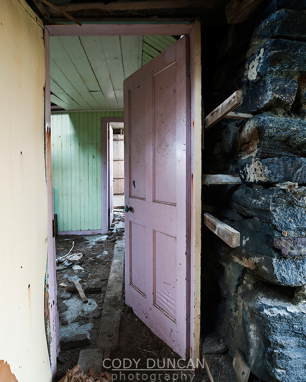 Hallway door of Derelict croft house, Berneray, Outer Hebrides, Scotland