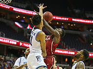 Washington, DC - March 10, 2018: Saint Joseph's Hawks guard Shavar Newkirk (1) gets fouled by Rhode Island Rams guard Jeff Dowtin (11) during the Atlantic 10 semi final game between Saint Joseph's and Rhode Island at  Capital One Arena in Washington, DC.   (Photo by Elliott Brown/Media Images International)