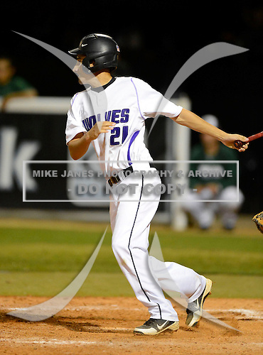 Eric Adkins during a varsity baseball game between the Timber Creek Wolves and Oak Ridge Pioneers at Timber Creek High School on February 19, 2013 in Orlando, Florida.  (Copyright Mike Janes Photography)