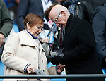 Norma and Sir Bobby Charlton during the Barclays Premier League match at The Etihad Stadium. Photo credit should read: Simon Bellis/Sportimage