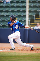 Biloxi Shuckers catcher Parker Berberet (21) at bat during a game against the Birmingham Barons on May 24, 2015 at Joe Davis Stadium in Huntsville, Alabama.  Birmingham defeated Biloxi 6-4 as the Shuckers are playing all games on the road, or neutral sites like their former home in Huntsville, until the teams new stadium is completed in early June.  (Mike Janes/Four Seam Images)