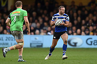 Jamie Roberts of Bath Rugby in possession. Gallagher Premiership match, between Bath Rugby and Harlequins on March 2, 2019 at the Recreation Ground in Bath, England. Photo by: Patrick Khachfe / Onside Images