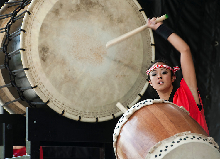 UNITED STATES - JULY 24: The Mirai Daiko Japanese drum ensemble performs on the main stage during the Colorado Dragon Boat Festival at Sloan's Lake Park in Denver on Saturday, July 24, 2010. (Photo By Bill Clark/Roll Call via Getty Images)