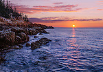 The Atlantic Coastline at Sunrise Opposite the Bass Harbor Head Light, Acadia National Park, Maine, USA